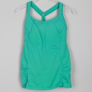 Athleta Tank Top Racer Back Gathered Built In Bra